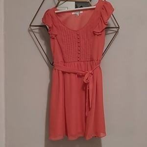 Coral button up sun dress